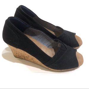 TOMS Black Wedges Sandals